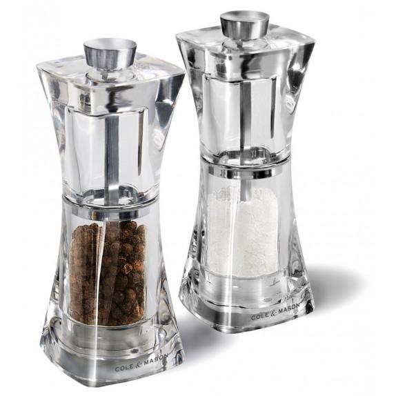 Coffret moulins sel et poivre Crystal 125 mm